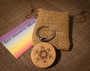 Metatron Cube Round Spiritual And Metal Blue Key Door
