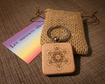 Metatron Cube Square Spiritual Square Metal and Wood Key Door