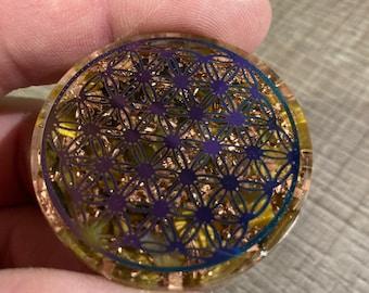 Disc orgonite round copper tiger eye flower of life