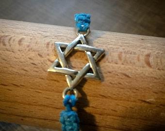 Spiritual customizable macramé bracelet in cotton and metal Hexagram Seal of Solomon