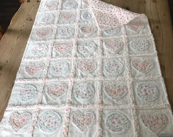 Baby Girl Patchwork 100% Cotton Rag Quilt, Hearts,Baby Blanket, Baby Rag Quilt, Baby Shower, Flannel