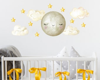 Moon and Stars Wall Decals. Clouds Nursery Stickers. Kids Room Decor. Clouds Wall Decal. Stars and Moon Decals Above Bed for Kids ds160