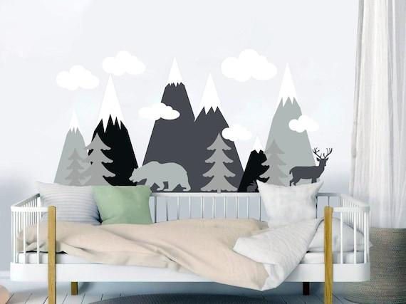 Berge Wald Wandtattoo Wald Tier Kinderzimmer Wand Dekor Berg Etsy