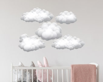 Puffy Cloud Wall Decals. Set of 5 Clouds. Nursery Wall Stickers. Bedroom Wall Art. Clouds Kids Room Decor. Clouds Wall Decal ds11