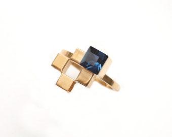 Shelby Earrings ~ Chevron /& Teardrop Oval Geometric Brass Jewelry made in Philadelphia Quadrat Collection GE139