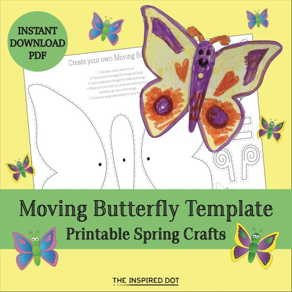 Printable Butterfly Craft Template Instant PDF Download Cute