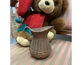 Vintage  Small 4 Inch Woven Split Splint Wood Basket Pitcher Vase