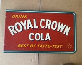 ROYAL CROWN Cola Flange Metal Soda Advertising Sign Collectible Stout Signs