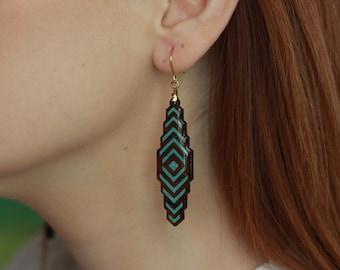 Wood Art Earrings, Handmade Earrings Jewelry, Gift for her, Wooden Earrings, Crushed Turquoise Inlay Earrings, Turquoise Gemstone Earrings