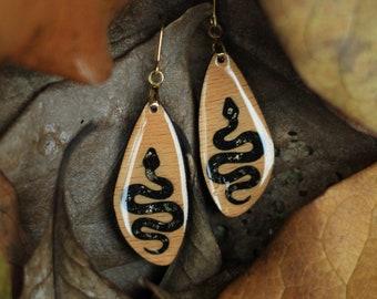 Snake earrings, Black Tourmaline snakes, Handmade Snakes for alternative type, Gothic snakes with stainless steel hooks
