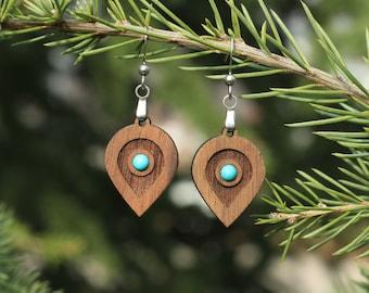 Fashion Earrings, Teardrop Earrings, Light Weight Jewelry, Turquoise stone earrings, Unique jewelry earrings