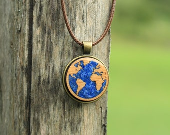Planet Earth Necklace With Gemstones, Lapis Lazuli Necklace of Mother Earth, World Map, For Him and Her / Nature Lovers and Environmentalist