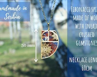 Fibonacci Pendant Necklace / Fibonacci Spiral Necklace / Fibonacci Fashion / Wooden Pendant / Handmade / Hand Crafted / Jewelry / Numbers