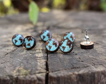 Planet Earth Earrings - World Map Earrings - Stud Wooden Earrings - Wooden Jewelry - Handmade Earrings - Stone Inlay Earrings - Epoxy Resin