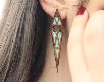 Fashion Geometric Earrings, Unique Earrings, Wooden Earrings, Triangular Earrings, Jewelry, Minimalist Earrings, Turquoise inlay