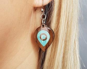 Earrings for her, Fashion Jewelry, Teardrop Traveling Earrings, Wooden Earrings, Turquoise inlay Earrings, Handmade Earrings, Stylish