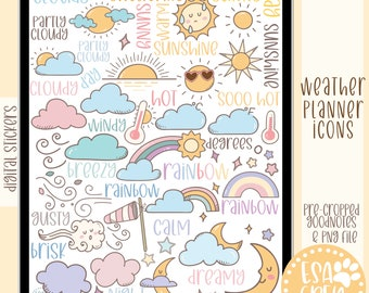 Hobonichi or PP Weeks Weather Tracking Weather Icon Partly Rainy Planner Stickers Hobo Weather Micro Weather Stickers #946-003-000S-WH