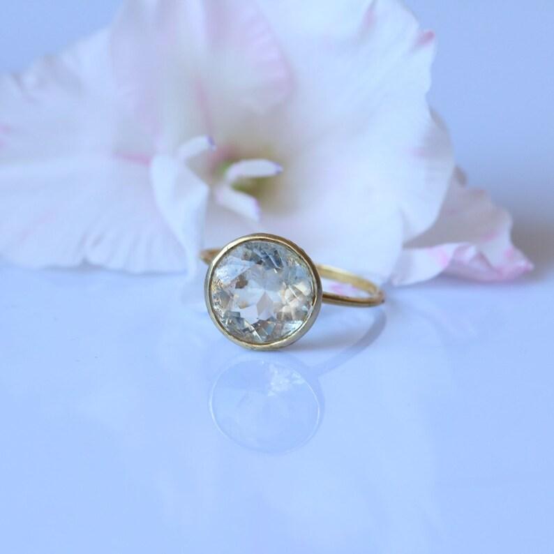 Green Amethyst Solitaire Ring in 14k9k Yellow Gold Bezel Setting,Alternate WeddingEngagement Ring,Handmade Fine Jewelry Anniversary Gift