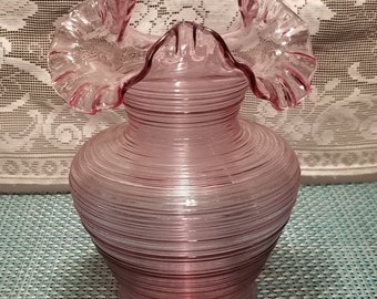 Monumental Handmade Empoli Pink Threaded Satin Vase by VAS Montelupo Fiorentino