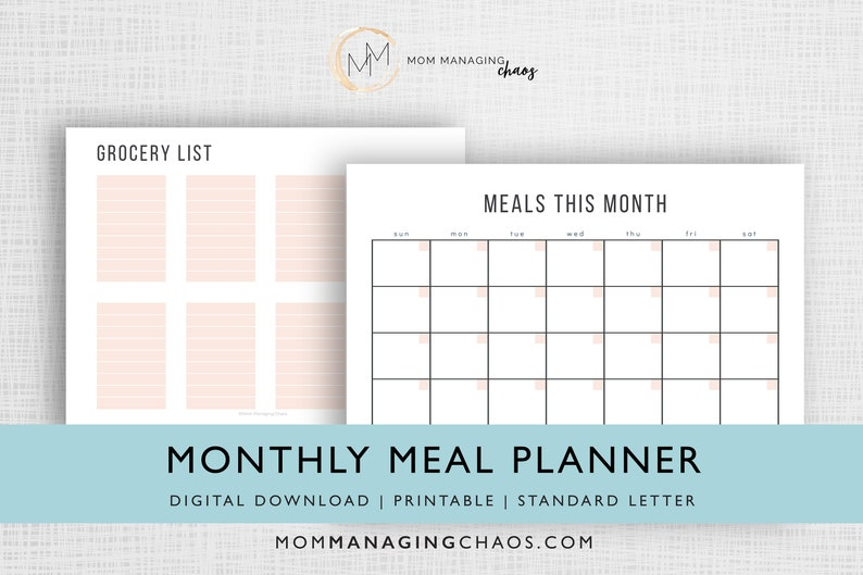 Monthly Meal Planner Template  Grocery Shopping List  image 0