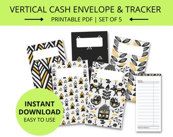 Printable Cash Envelopes, Cash Envelope System, Cash Envelope Wallet, Cash Organizer, Budget Envelope, Vertical, Expense Tracker,  PDF