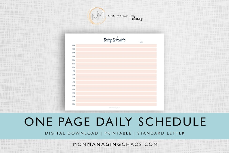 One Page Daily Block Schedule  Planner Printable  Digital image 0