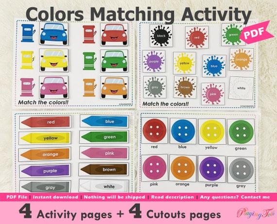 Colors Matching Toddler Busy Book Pages Printable Learning