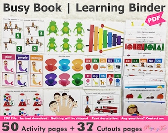 Toddler Busy Book Printable Pack, Toddler Learning Folder, Quiet Book, Home school Resources, Busy Books Pages, Learning Binder