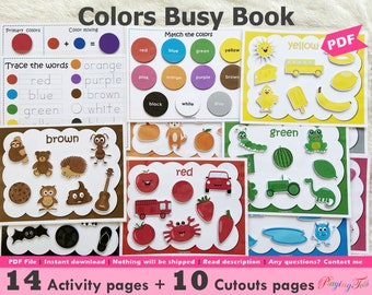 Colors Busy Book Printable, Toddler Busy Book, Learning Binder, Toddler Travel Activity Book, Fun Homeschool Binder, Preschool Activity