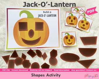 Jack O Lantern Printable, Build Jack O Lantern, Shapes Activities, Fall or Autumn Busy Book Pages, Learning Binder, Quiet Book, Homeschool