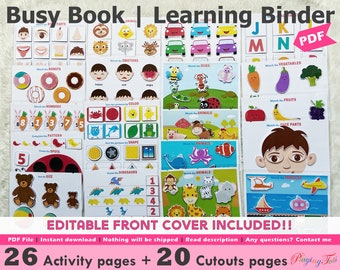 Toddler Busy Book Printable, First Learning Binder, Educational Printable, Fun Quiet Book, Homeschool Binder, Busy Books Pages
