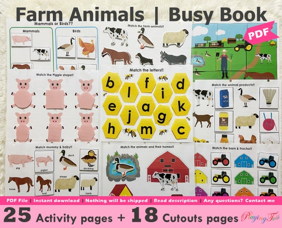 Farm Animals Toddler Busy Book Printable Learning binder