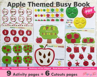 Apple Themed Busy Book Printable, Toddler Busy Book, Learning Binder, Quiet Book, Homeschool Binder, Fall Autumn Theme Activities