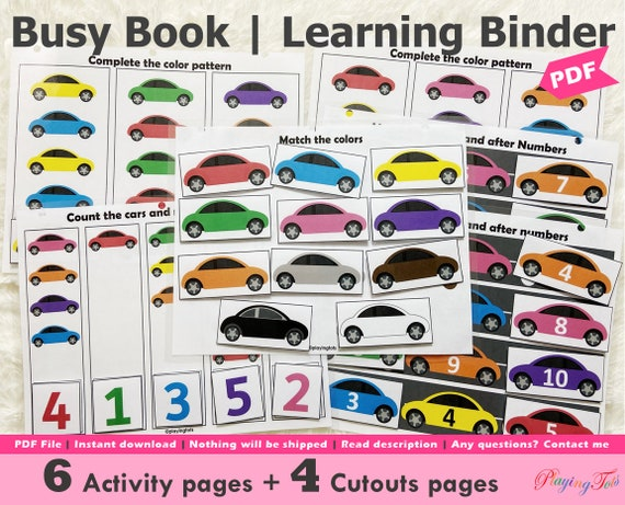 Car Themed Toddler Busy Book Printable Vehicle Busy Book
