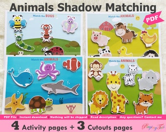 Animals Shadow Matching Activity Printable, Bugs Silhouette Toddler Busy Book, Quiet Book, Learning Binder, 2 Year Old Worksheet, Homeschool