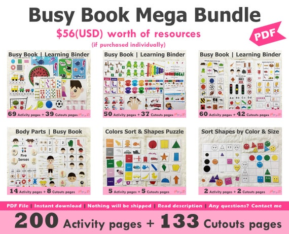 Toddler Busy Book Printable Mega Bundle Toddler Learning
