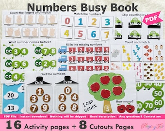 Numbers Busy Book Printable, Toddler Learning Binder, Quiet Book, Homeschool Binder, Math Busy Books Pages, Preschool Math, Montessori Math