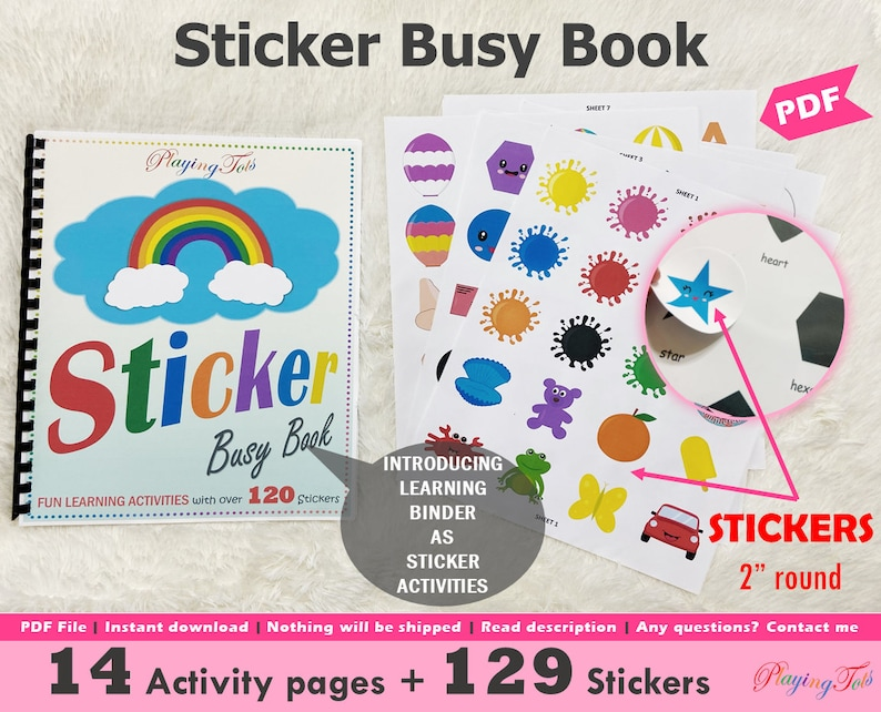 Sticker Busy Book Printable Learning Sticker Activity Book image 0