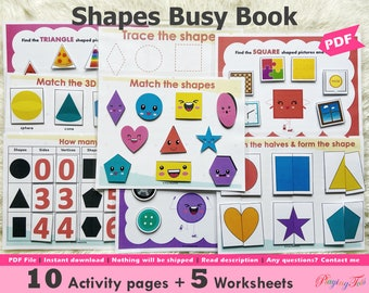 Shapes Busy Book Printable, Toddler Busy Book, Learning Binder, Toddler Travel Activity Book, Fun Homeschool Binder, Preschool Activity