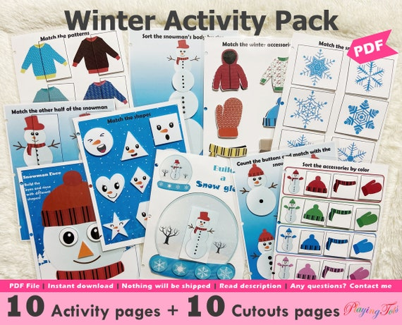 Winter Busy Book Printable for Toddlers Snowman Themed