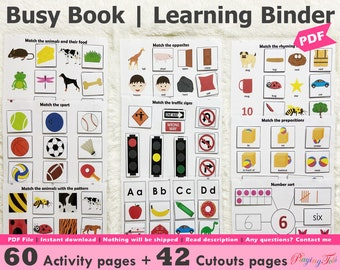 Toddler Preschool Busy Book Printable, Learning Folder, Home school Resources, Busy Books Pages, Preschool Learning Binder, PreK Binder
