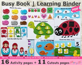 Toddler Busy Book Printable, Learning Binder, Educational Printable, Quiet Book, Homeschool Binder, Busy Books Pages, UPDATED VERSION