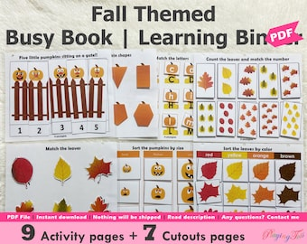 Fall or Autumn Busy Book Printable for Toddlers, Learning Activities, Homeschool Resource, Learning Folder, Educational Busy Book Pages