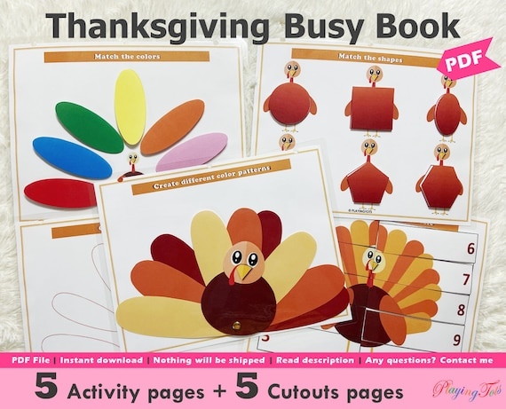 Turkey Themed Busy Book Printable for Toddlers Thanksgiving