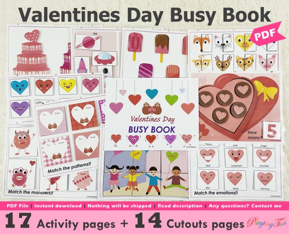 Valentines Day Busy Book Printable Toddler Learning Binder