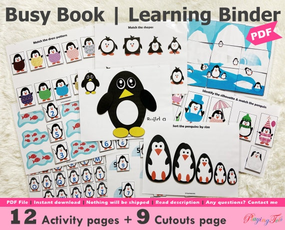 Penguin Busy Book Printable for Toddlers and Preschoolers