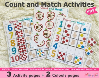 Counting Practice Printable, Count and Match, Preschool Math, Learn to count, Montessori Counting, Busy Book Pages, Learning Binder Pages