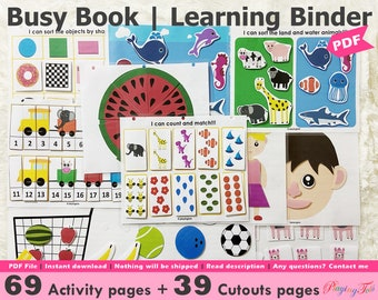 Toddler Busy Book Printable, Learning Folder, Quiet Book, Homeschool Binder, PreK Busy Books Pages, Preschool Busy Binder