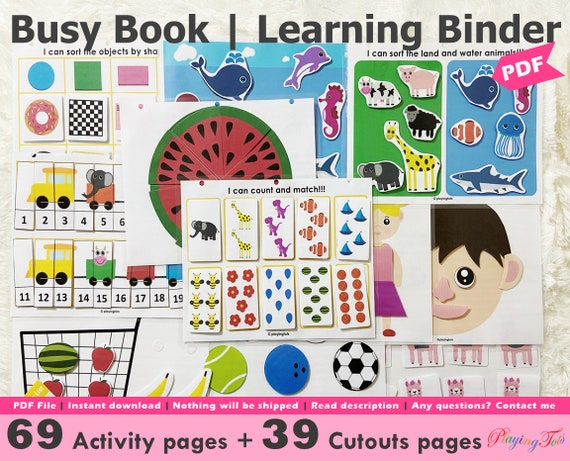Toddler Busy Book Printable Learning Folder Quiet Book