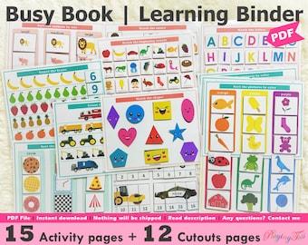 Toddler Learning Binder Printable, Busy Book Pack, Quiet Book, Toddler Homeschool Binder, Preschool Busy Book, Learning Folder, PreK Binder